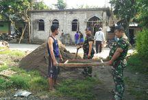 Warga, TNI dan Polri Kediri Dalam Pembangunan Mushola Al Fatah Ngasem