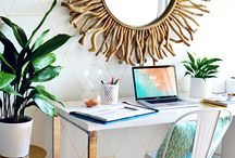 Home Office Inspiration / home offices, home office, office, pretty office, stylish office, workspace, girl boss, girly office, office decor, design, interior design, stationery, stationary, offices, work space, colorful office, entrepreneur, wall art, style, wall planners, productivity, work space