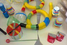Instrumentos musicais e brinquedos com material reciclado