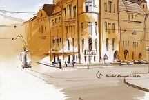 SKETCHES by Elena L I N I A / illustrations, sketches, digital art, drawing