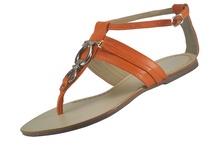 Rasteirinha de couro gladiadora laranja / Sandália rasteirinha de couro