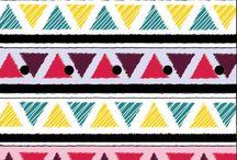 """Colección de estampados """"Divino Color"""" / Inspirado en las figuras geométricas. Esta colección muestra formas como puntos, manchas, triángulos, círculos, acompañados de intensos y divertidos colores, tomando también como base de inspiración el caleidoscopio."""