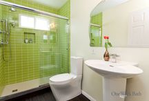 Bathroom Design 89 / A contemporary bathroom design with neon green subway tile.