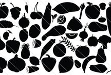 Silhouette Fruits & Vegetables / Today a basket full of fruits and vegetables for you as a silhouette fruits and vegetables cover. So many items are given here like tomato, pear, strawberry, grapes, bottle gourds, pomegranate, cherry and many more.