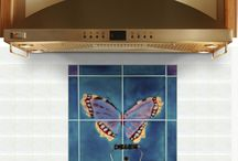 Butterfly & Dragonfly tiles & murals / The Peacock, Camberwell & Dragonfly 4 tile panels are captured in rich , incandescent colours. These tile murals look equally striking in a bathroom or  behind a range cooker .