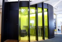 TMT company fit out / A contemporary fit out by us with retro overtones for a forward thinking TMT company. curved quiet pod, breakout space and Lounge area with open plan office area