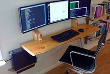 Hanging desk and computer monitors