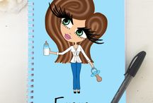 ♡ Personalised Diaries / Using the HunniBunni Builder you can choose between the outfits, hair styles, hair colours, eye colours, skin tones and can add your name or personalised text so that your notebook will be special, individual and unique to you - visit our website: www.hunnibunniboutique.co.uk
