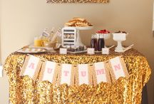 Pink & Glitter Birthday Party / Hold on to your hats ladies and gentlemen… we have some MAJOR sparkle to share with you! This brand new Pink and Gold Glitter Birthday party collection is full of perfectly glittery decorations – without using any actual glitter. You heard right… NO glitter required!