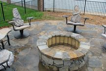 Fire Pit Seating / Neat seating for your fire pit built by www.stone2furniture.com, check out our custom stone chairs at http://stone2furniture.com/fire-pit-seating/