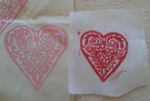 Printed Hearts / Hearts printed by me and my students.