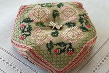 Pin Cushions/Stitching - Biscornu / Biscornu / by Debra Shaw