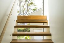 Solid Blackbutt Stairs / Mosman House, Solid Blackbutt Select Grade DAR open faced stair treads, supplied, installed, sanded and finished by Insight Flooring 2013.