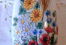"""Umidificatore per termosifone/Stufa in ceramica dipinto a mano.Decoro """"Poppies"""""""
