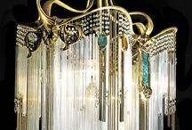 Art Nouveau Chandelier and Lamps