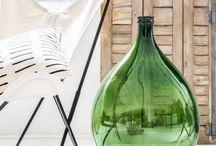 Green glass vases & bottles