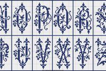 Point de croix monochrome - alphabets