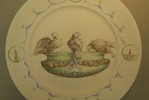 FAIENCES peintes par THIERRY LODZIAK pour la FAIENCERIE NISTAR à St GILLES CROIX DE VIE- VENDEE / Assiettes et plats peints à la main