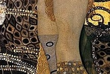 Klimt / Gustav Klimt (July 14, 1862 – February 6, 1918) was an Austrian symbolist painter and one of the most prominent members of the Vienna Secession movement. Klimt is noted for his paintings, murals, sketches, and other objets d'art. Klimt's primary subject was the female body, and his works are marked by a frank eroticism.  / by Jacqui Murtough