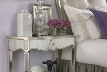 Master Suite / Master suite decorating ideas Grays, purples, black & white/ivory/cream, pewter or bronze/gold  Mirrored furniture, antique mirrors, crystal chandelier, romantic, modern, vintage glam / by Jordan DeWitt