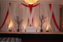 White & Red Criss Cross Backdrop / White & Red Criss Cross  Wedding Backdrop