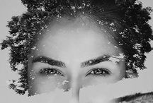 Double exposure portraits / Double exposure portraits mystic black white