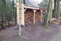 Haardhout opslag / Haardhout opslag zelfbouw project gemaakt van douglas hout en sneldekkers (dakpannen)