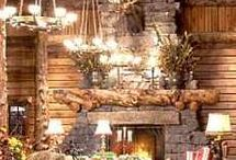Cozy Log Home  Fireplaces  / Add a little warmth this winter with these cozy log home fireplaces. / by LogFinish.com