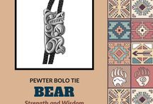 Bolo Ties / Pewter Bolo Ties with designs from native northwest artists.