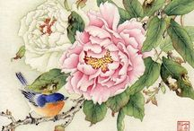 Paintings watercolour flowers with japanese influence