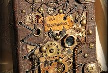 Steampunk books, polymer clay journals