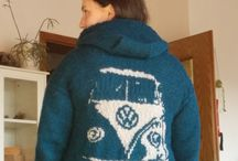Knitted Campervan Hoodies / Hoodies made using our Campervan Hoodie Knitting pattern