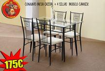 Mesas y sillas de comedor / Diferentes modelos de mesas y sillas para comedor que enviamos a toda la Península