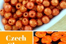 Orange Czech Glass Beads
