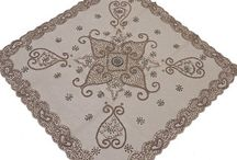Beaded Tablecloths / Hand Beaded Organza table toppers and overlays from India