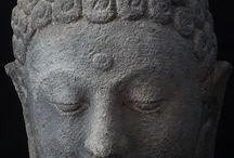 Ancient stone Buddha heads / Stone Buddha heads from around the world