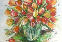 MOJE MAĽOVANÉ OBRAZY- My painted images / Maľovanie je koníček môjmu srdcu blízky. Pozývam vás pozrieť sa na kvety, ktoré maľujem najradšej a objavujú sa najčastejšie.Sú to väčšinou maľby akrylové, olejové ale aj maľovanie na sklo.