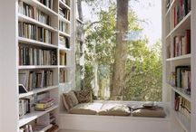 Design | Reading Nooks / Comfortable window seats with big windows, lots of light and a beautiful view outside, or in sun rooms and outside on verandahs and porches, all perfect places for reading