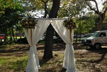 2.22.14 Wedding Ceremony & Reception - Coconut Grove Womens Club / Chuppah, Linens, Overlays & Black Underlays, Cake Stand, Bride & Groom Chairs by: Eventiste Fine Linens & Event Rentals  Planning & Floral Arrangements by: Family Friend <3  Cake by: Kris Castellano Cakes  castellano.k@gmail.com