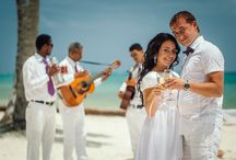Newlyweds with musicians / Dominican music band, saxophonist and other musicians on wedding ceremonies from Caribbean Wedding http://wedding-caribbean.com