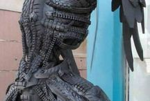 SCULPTURES MADE FROM TYRES