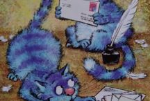 Postcrossing Blue Cats by Irina Zenyuk