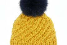 Real Fur Pom Pom Bobble hats / Gorgeous hand knitted super chunky hats with giant fur pom poms
