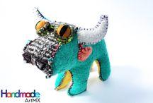 handmade stuffed animalitos / Ethnic handmade wool animals