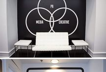 INTERIOR - Office Wall Murals / Full wall murals or collages with typography, art or illustration in office or commercial spaces.