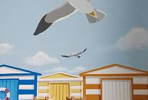 Beach Huts and Seagulls
