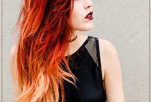 cabelo com cores / cabelos azuis, laranja, vermelho