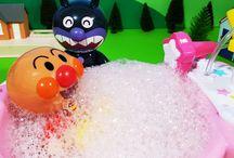 アンパンマンおもちゃアニメ❤メルちゃんのお風呂でアンパンマンとバイキンマン Anpanman toys