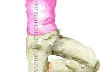 Eigene Arbeiten: Yoga / Illustrationen rund ums Yoga