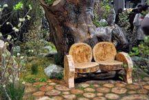 jardines con troncos